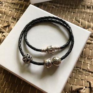 Pandora Black Double Woven Leather Charm Bracelet